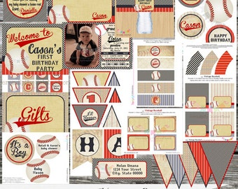DIY Printable Party Package -Vintage Baseball -Baby Shower -Banner -Favor Tags -Tent Cards -Cupcake Toppers -Sports -Play Ball -Baseball