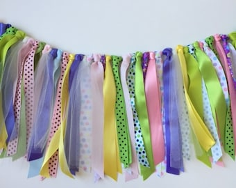Ribbon Garland, baby shower garland, wedding shower garland, ribbon valance, girls room garland,birthday garland, pastel ribbon garland