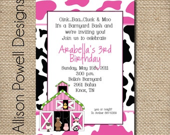 Girl Farm Party, Barnyard Party, Cow Party, Hot Pink, Cow print - Print your own