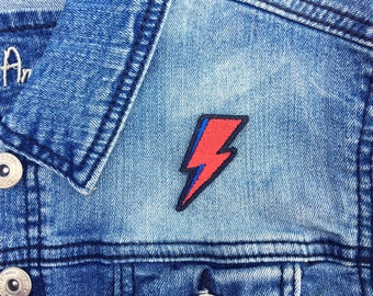 David Bowie Lightning Bolt Iron-on Embroidered patch