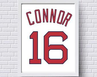 Boston Red Sox Print Poster Baseball Jersey - Gift for him - Personalized baby - Custom - Baby boy gift - Nursery print - Wall Art - BoSox