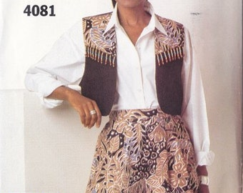 4Misses Vest & Shorts Pattern - Buttrick Pattern No. 4081 - Size 12 - 14 - 16 - Wide Leg Above Knee - See and Sew Pattern - Uncut