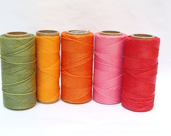 Knotting Cord - Macrame Thread - Waxed Polyester Cord - Set of 5 Spools - 188 yards each - SUMMER
