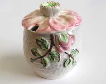 Vintage Preserves Pot, English China, Shorter & Son, Hand Painted, Wild Rose