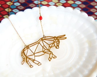 laser cut brass bull necklace- taurus style- astrology