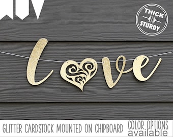 love banner, with lace heart, wedding banner, engagement, valentine's decor, glitter party decorations, cursive banner