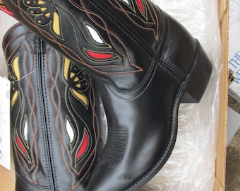 Acme women black with underlays vintage from 90's copying retro from the 50-60's cowgirl boots never worn never owned style #1710 7M
