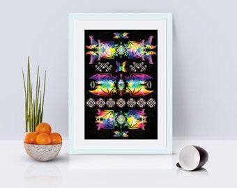 Electro Bats Poster Print Wall Art