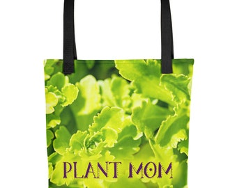 Plant Mom Gift, Floral Tote Bag for Gardening, Mothers Day Spring Flowers, Her Cloth Grocery Farmers Market Handbag, Ladies, Womens, Grandma