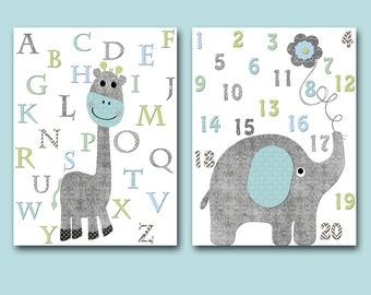 Giraffe Alphabet Nursery Wall Decor Elephant Numbers Print Nursery Art Kids Wall Art Baby Boy Nursery Print Baby Nursery Decor set of 2