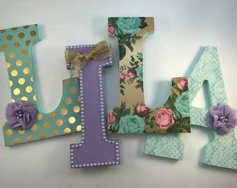 Mint and purple girls nursery letters, purple nursery letters, mint nursery letters, lila letters, baby girl name letters