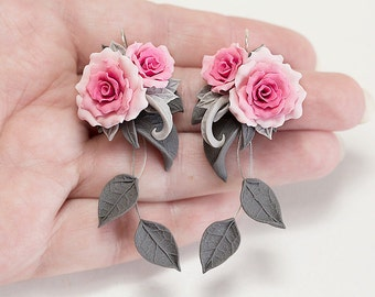 Pink rose earrings. Dangle earrings. Pink flower earrings. Polymer clay jewelry.  Rose jewelry. Pink Bridesmaids gift. Pink gray earrings.