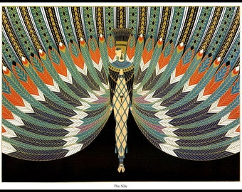 Erte Classic Art Deco Print, 'The Nile', Original Vintage Art Print,  Ready To Frame