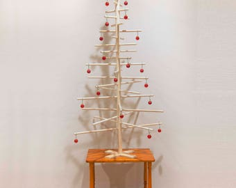 Simple Contemporary Modern Wooden Dowel Table Top Christmas Tree Handmade 4 foot