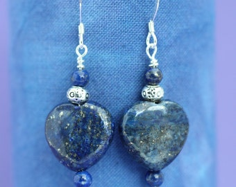 Lapis Lazuli Heart and Bead Earrings, September Birthstone,Bridal Earrings,Bridesmaid Gift, Gift for Mum,Gift for Wife