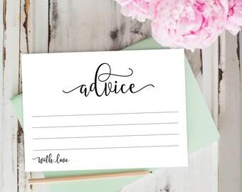 Advice Cards, Wedding Advice Template, Advice Printable, Baby Advice, Parent Advice, Newlywed Advice | No. EDN 5128D