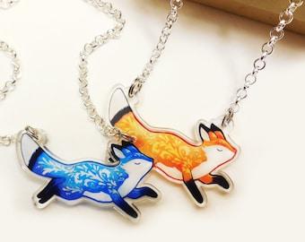 Fox necklace pendant -  Acrylic jewelry animal charm