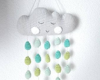 Mobile nuage et gouttes de pluie au crochet pour bébé garçon, déco murale chambre bébé, idée cadeau naissance petit garçon