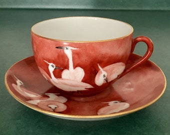 Vintage Cup & Saucer in Rust / Red with Egret / Crane / Bird Motif