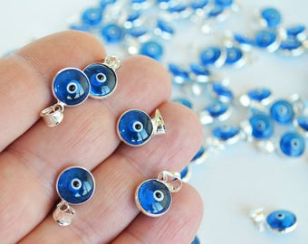 Evil eye charm, 1 pcs Navy Blue evil eye pendant, Evil eye beads for connectors, evil eye connectors, glass evil eye charm, diy supplies