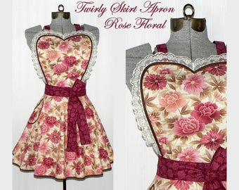 Rose Floral Twirly Skirt Apron, half circle skirt with sweetheart neckline, flirty pin up Diner Apron, retro hostess apron, ready to ship
