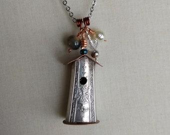Rustic Vintage Spoon Handle Birdhouse Necklace
