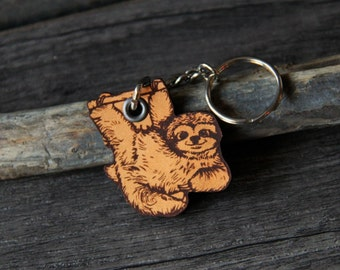 Baby Sloth - genuine leather keychain