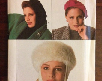 Simplicity 7733 Hat, Beret, Hood with Neck Cowl or Fur Band with Scarf Wrap and Knotted Headband Retro Hollywood Glamour - One Size