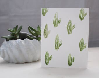 Cactus style greeting card- hand painted watercolor