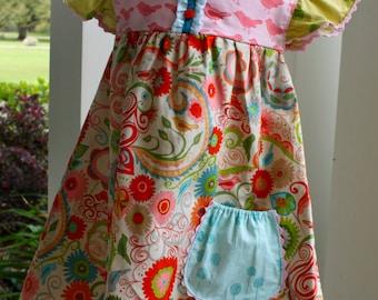One of a Kind, Girls Easter / Spring Flutter Sleeve Dress, size 3T