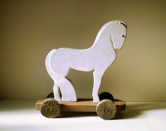 Horse and carriage carved handmade wooden - original Creation