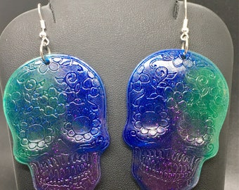 Colorful sugar skull earrings