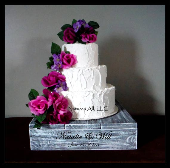 """14"""" Rustic Wedding Cake Stand/Personalized Option/Weathered Gray/Cupcake Stand/Country Wedding Decor/Rustic Cake Stand"""