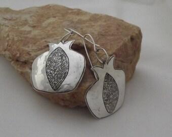 Pomegranate earrings, sterling handmade