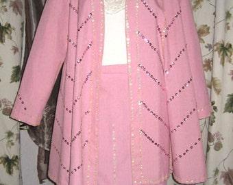 70s Womens Two Piece Bubblegum Pink Suit with Sequins Vintage