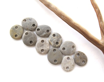 Rock Links Mediterranean Beach Stone Jewelry Links River Rock Beach Pebble Diy Jewelry River Stone Connectors Small GRAY LINKS 14-16 mm
