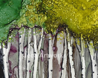 "Print 8 x 10 ""Birch Trees"" Vibrant Alcohol Ink Print of the Original"