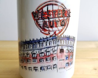 Western Auto coffee/tea mug of Kansas City. 15 oz from my original ink and watercolor Sketch. Dishwasher and microwave safe