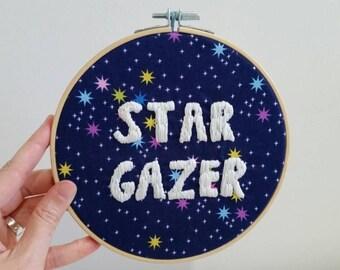 Star Gazer hand embroidered hoop art / wall art home decor