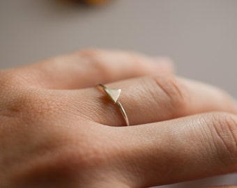 1 mm triangle sterling silver stacking ring, skinny silver stackable ring with tiny triangle