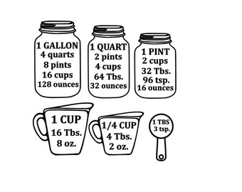 Measuring Cup Conversion  SVG, Mason Jar svg Design, Kitchen Decor svg Files, Silhouette Files, Cricut Files, SVG Cut Files, PNG Files