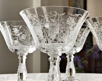 4 Vintage Coupe Champagne Glasses / Cocktail Glasses Fostoria Elegant Glass Stemware