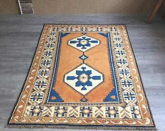 "4""3x6""2ft.oushak rug,Turkish rug,Trending Low Pile Vintage Turkish Oushak Rug,Rustic Decor Muted Colored Distressed Handmade Rug,Office Rug"