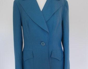 Vintage 70s does 40s blue fitted jacket blazer size Medium