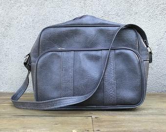 vintage gray vinyl travel bag overnight bag tote