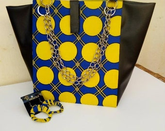 handbag with african print, blue and yellow print+earring set