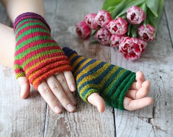 Fingerless Mittens handknitted from 100% Merino Wool, supersoft and warm, holiday gift for her or him