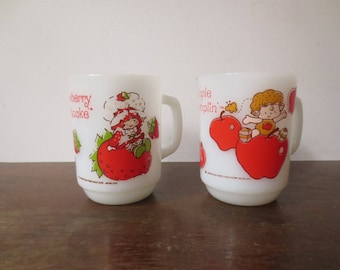 Vintage '80s Strawberry Shortcake and Apple Dumplin' Anchor Hocking Milk Glass Mugs, 1980