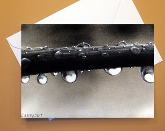 Art Greeting Card  - Created from Original ACEO drawing for Charity - Blank Notecard - 4x6 - Heart drops macro- Day 337