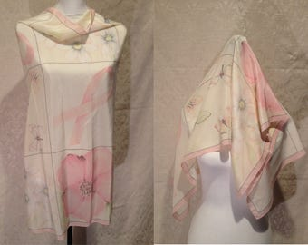 1980s 90s Silky Pink Floral Butterflies Breast Cancer Awareness Large Scarf Wrap Shawl